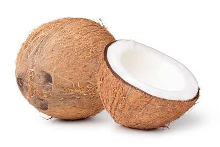 Fresh coconut isolated  on white background photo
