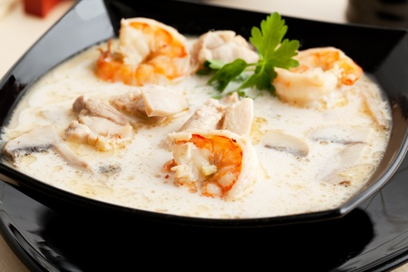 seafood soup: Tom Yum soup with shrimp in coconut milk