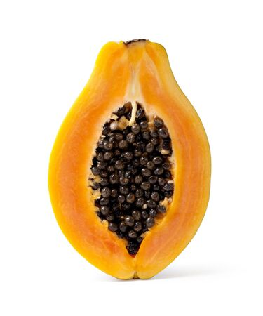 half cut: Half cut papaya fruits on white background Stock Photo
