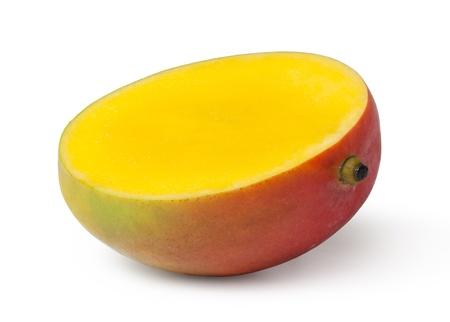 half cut: Half cut mango fruits on white background
