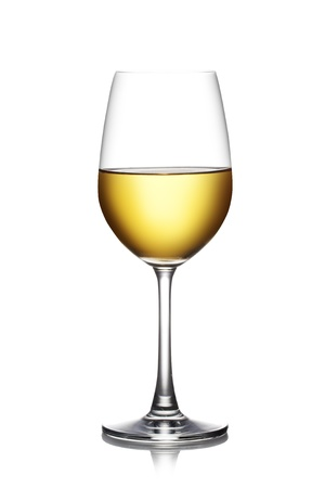 white wine: Glass of white wine isolated on a white background. The file includes a clipping path.