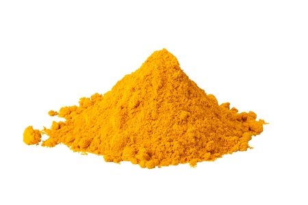 turmeric: Heap ground Curry isolated on white background Stock Photo