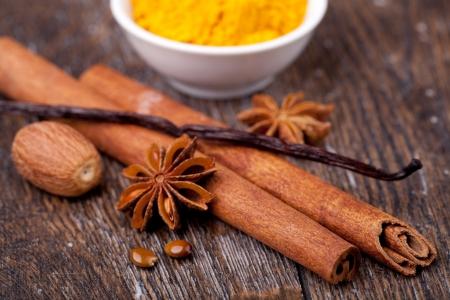 anisetree: closeup of anise, cinnamon and vanilla pods Stock Photo