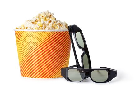 Popcorn and 3d glasses on a white background Stock Photo - 17919443