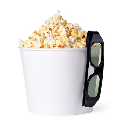 Popcorn and 3d glasses on a white background photo