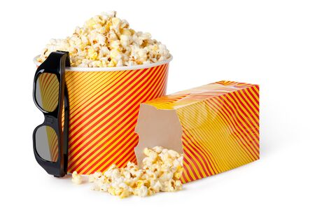 Popcorn and 3d glasses on a white background Stock Photo - 17919599