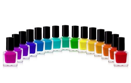 polish: red nail polish bottle on white background Stock Photo