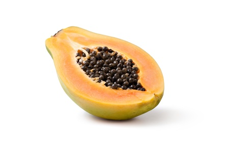 Half cut papaya fruits on white background Stock Photo