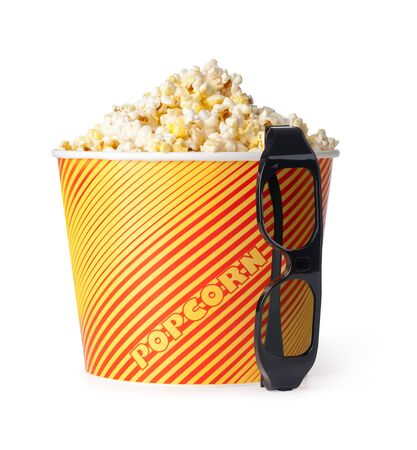 bowl of popcorn: Popcorn and 3d glasses on a white background