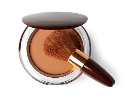 aureate: Makeup Powder and Brush on a white background