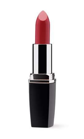 lipstick tube: Red lipstick isolated on white background