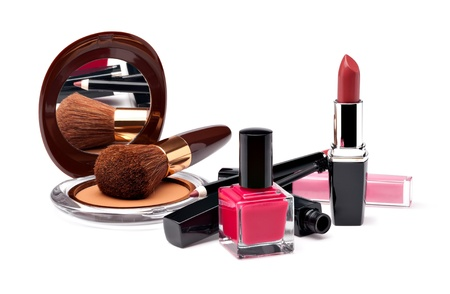 Various Cosmetics on white background photo