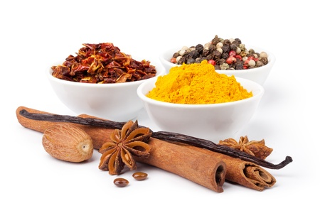 anisetree: Spice collection isolated on white background