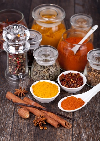 anisetree: Spice collection on a wooden table Stock Photo