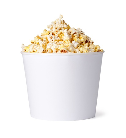 popcorn bowls: Popcorn in red and yellow cardboard box on a white background