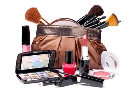 Various Cosmetics on white background Stock Photo - 18668338