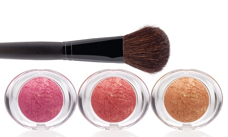 rubicund: Makeup rouge and Brush on a white background Stock Photo