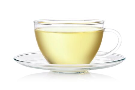 green tea cup: Cup of tea on a white background Stock Photo