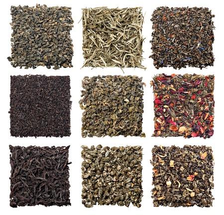 gunpowder tea: assortment of dry tea on white background