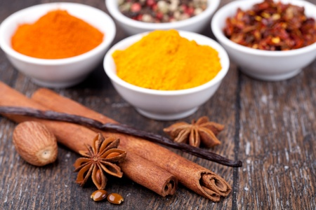 anisetree: Spice collection isolated on a wooden table