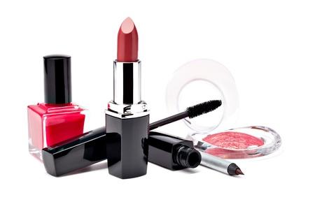 lip stick: Various Cosmetics on white background Stock Photo