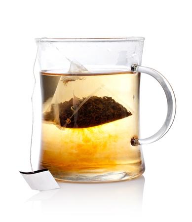 Glas Tee mit Bag End Standard-Bild
