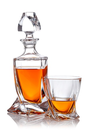 Glass of scotch whiskey with clipping path photo