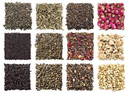 loose: assortment of dry tea on white background