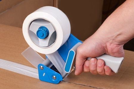 Cardboard boxes stick dispenser for adhesive tape photo