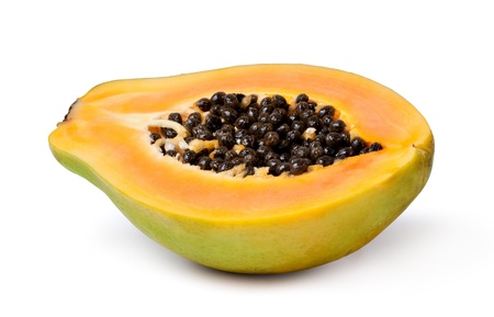 papaya: Half cut papaya fruits on white background Stock Photo