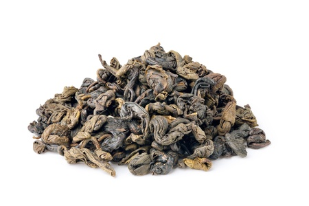 gunpowder tea: Gunpowder tea isolated on white