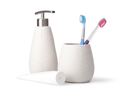 bathroom accessories on white background photo
