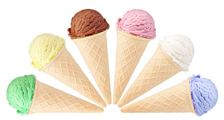 set of ice cream with cone on white background photo
