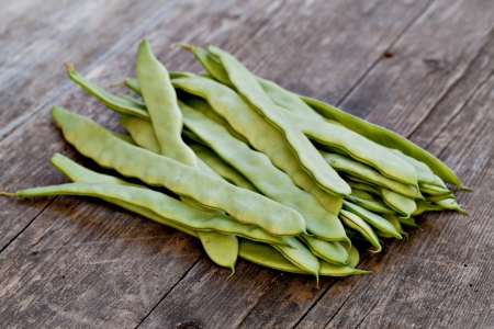 pod: Fresh Green Beans On White Background