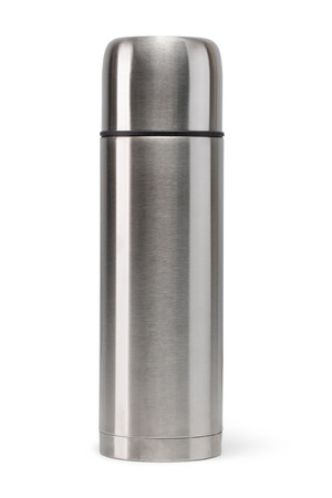 thermos: Metal vacuum flask isolated on a white background Stock Photo