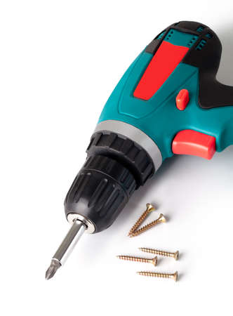 cordless: Battery screwdriver or drill isolated on a white background