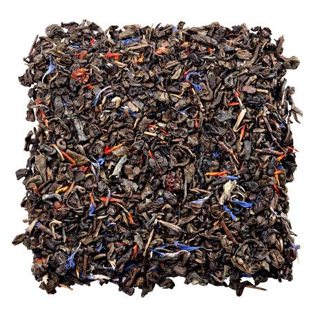 gunpowder: aromatic Gunpowder tea with fruits and petals isolated on white Stock Photo