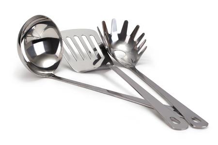 kitchen utensils: conjunto de utensilios de cocina de acero inoxidable