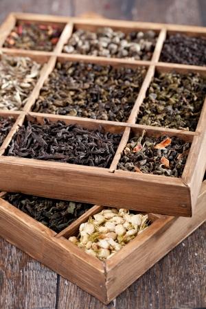 gunpowder tea: assortment of dry tea