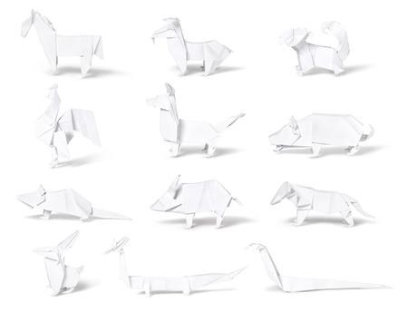 chinese pig: Origami, colecci�n del zodiaco chino aislado en el fondo blanco