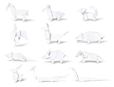 origami oiseau: Origami, collection du zodiaque chinois isol� sur fond blanc