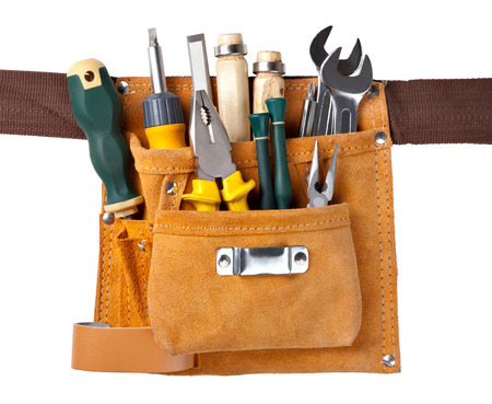 set of tools in tool box isolated at white background Imagens