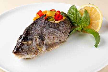 Grilled Sea Bream (Dorado) with risotto Stock Photo - 22831201