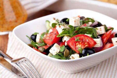 greek salad: Greek vegetable salad with feta cheese Stock Photo
