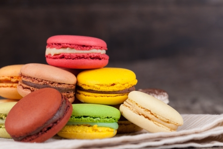 Macaroons on a wooden table Stock Photo
