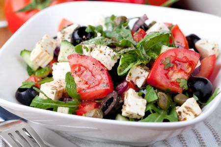 greek salad: vegetable salad with feta cheese