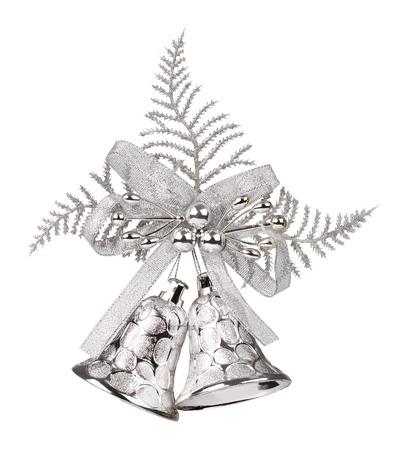 campanas de navidad: campanas de oro de la Navidad en un fondo blanco