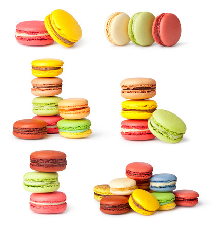Tasty colorful macaroon on a white photo