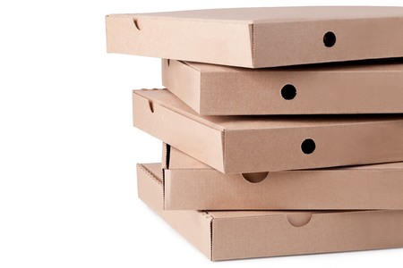 cardboard  pizza boxes on white background photo