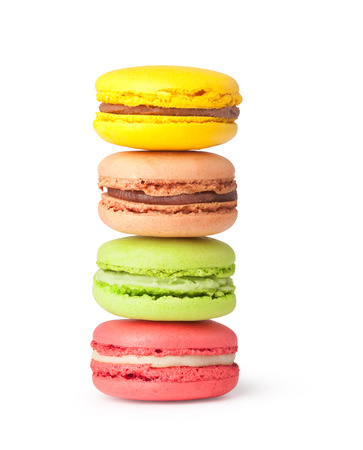 Tasty colorful macaroon on a white background photo